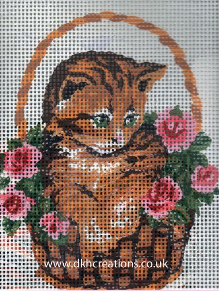 Kitten In Rose Basket Tapestry Kit